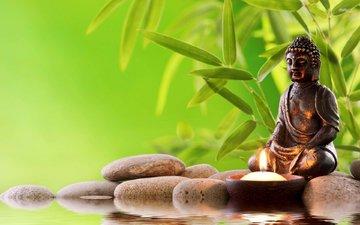 вода, камни, зелень, будда, статуя, свеча, дзен, религия, учитель