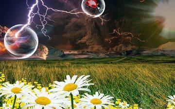 трава, горы, молния, поле, огонь, дым, ромашки, мыльные пузыри, деревье