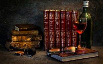 очки, книги, бокал, вино, спички, трубка, бутылка, пепел, красное