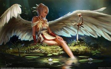 art, girl, sword, fantasy, angel