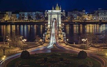 венгрия, будапешт, дунай, цепной мост, ночь. огни