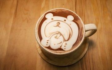 рисунок, кофе, мишка, кружка, блюдце, капучино, пенка