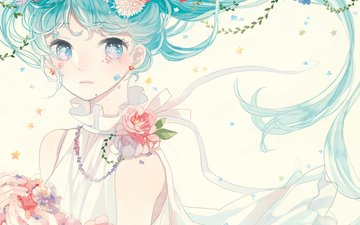 flowers, art, girl, petals, anime, vocaloid, mig, 36th underground, hatsune miku