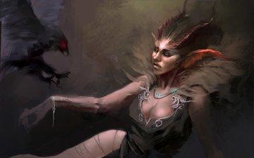 the demon, bird, horns, raven, woman