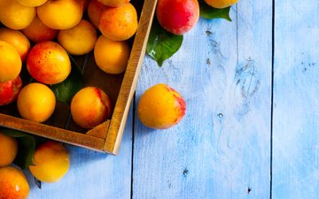 еда, фрукты, стол, коробка, ящик, абрикосы