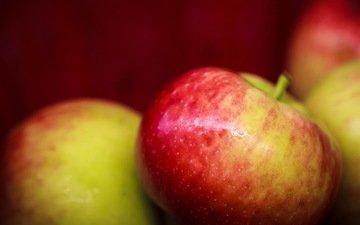 макро, фон, фрукты, яблоки, яблок