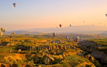 the sky, mountains, flight, height, ball, balloon, ballooning, competition, journey