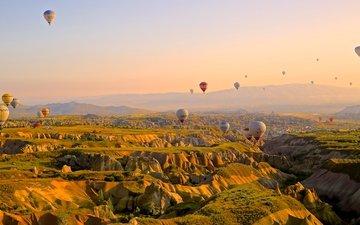небо, горы, полет, высота, шар, воздушный шар, воздухоплавание, соревнования, путешествие