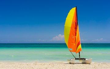 небо, берег, море, песок, пляж, парусник, яхта