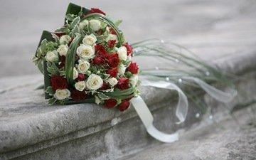 цветы, розы, букет, свадьба, ступени