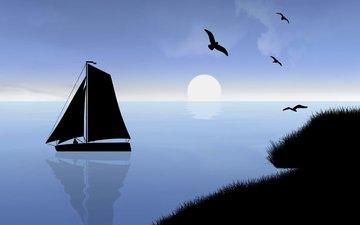 вектор, море, парусник, графика, птицы