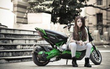 девушка, поза, город, мотоцикл, азиатка