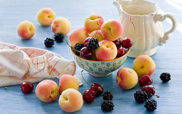 фрукты, черешня, ягоды, натюрморт, ежевика, абрикосы, anna verdina