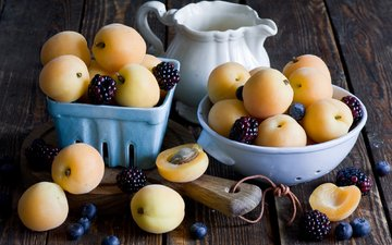 фрукты, ягоды, черника, натюрморт, ежевика, абрикосы, anna verdina