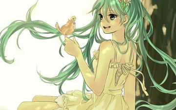 art, tree, girl, joy, sitting, vocaloid, bird, flower, run, sweettimehappy, hatsune miku