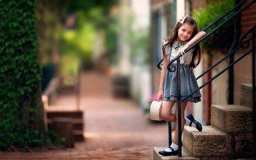 лестница, настроение, улыбка, взгляд, дети, девочка, ступени