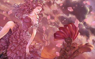 the sky, art, girl, petals, camel