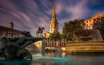 лондон, фонтан, англия, статуя, трафальгарская площадь