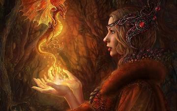 art, girl, blonde, dragon, magic, sorceress