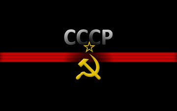 ussr, star, black background, the hammer and sickle