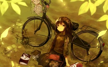 art, books, girl, toy, mug, tangle, bike, knitting, aiharafu