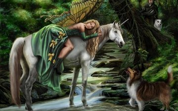art, girl, fantasy, dog, fairy, hunter, unicorn, faerie steed, sandra chang, magic forest