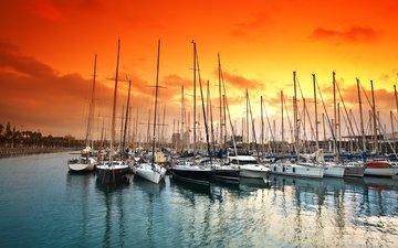 небо, закат, море, яхты, океан, регата, яхт-клуб