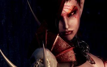look, face, red eyes, the elder scrolls v, skyrim, vampire