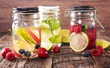 напиток, фрукты, лимонад, ассорти