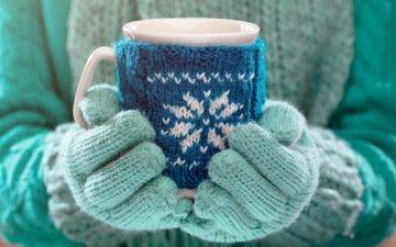 зима, настроение, кружка, руки, какао, варежки