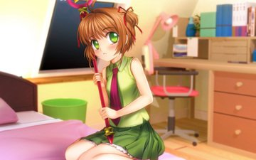 girl, look, bed, card captor sakura, kinomoto sakura, blush, mutsuki (moonknives)