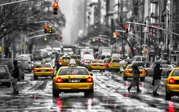 road, people, the city, street, rain, building, taxi