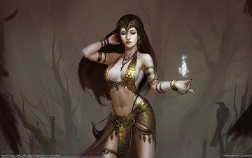 арт, девушка, фэнтези, магия