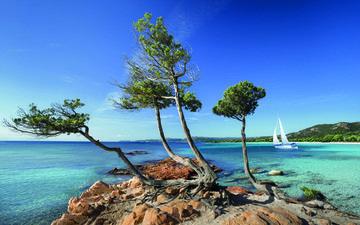 пейзаж, море, пляж, яхта, остров, пляж palombaggia, корсика, паломбаджия