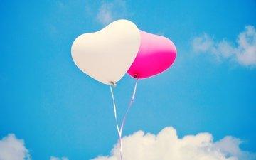 небо, шары, шарики, сердца, белое, воздушные, розовое