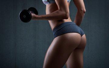 девушка, спорт, жопа, фитнес, гантели, прикладом