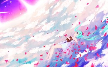art, clouds, water, girl, petals, vocaloid, book, zombie neko, hatsune miku