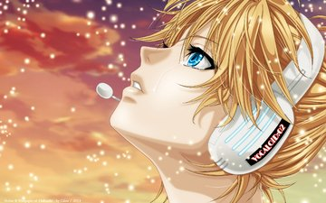 art, guy, headphones, profile, vocaloid, tears, kagamine len