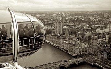 мост, лондон, темза, колесо обозрения, англия, биг бен, вестминстер