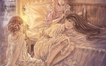 light, art, girls, room, bed, nightie, comb, sillselly