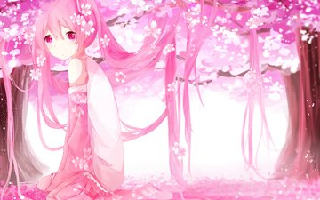 flowers, art, trees, girl, petals, anime, vocaloid, sakura, sakura miku