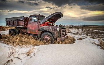 металл, трава, снег, ржавчина, сухая, заброшенная, грузовик