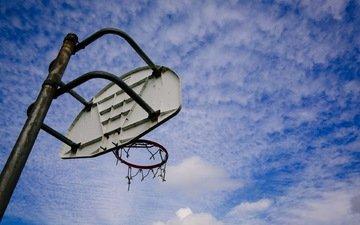 небо, кольцо, спорт, щит, баскетбол