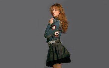 girl, look, skirt, sponge, redhead