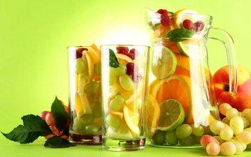 листья, фон, виноград, малина, фрукты, апельсины, ягоды, лайм, бокалы, персик