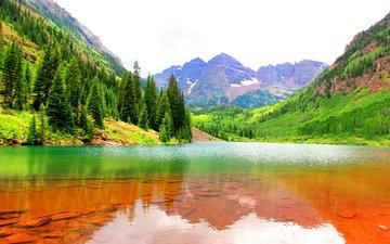 вода, озеро, горы, скалы, камни, лес, дно, сша, ущелье, колорадо, марун-беллс