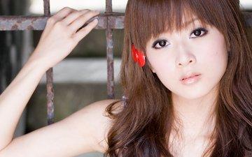 девушка, взгляд, лицо, японка, азиатка, микако