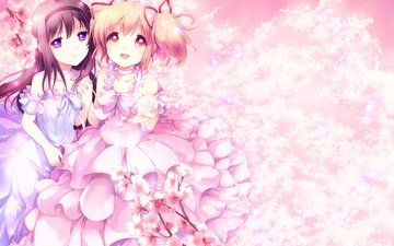 flowers, art, trees, dress, foliage, petals, look, anime, girls, sakura, smile, akemi homura, blush, yamada ako, mahou shoujo madoka magica, kaname madoka