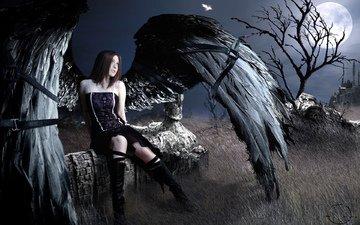 дерево, девушка, луна, крылья, перо