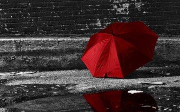 отражение, стена, улица, дождь, зонт, лужа